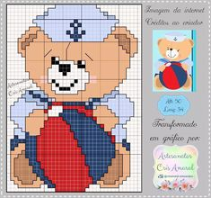 Cross Stitch Animals, Hand Embroidery, Family Guy, Fictional Characters, Baby Blankets, Coral, Inspired, Cross Stitch Baby, Sailor