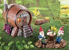 Whimsical Lighted Gnome Vineyard Wine Barrel House with Wine Drinking Gnomes