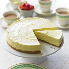 This lemon cheesecake is quick and easy to make and tastes divine! The lemony filling is made with mascarpone cheese and the base is made from crushed digestive biscuits. Lemon Cheesecake Recipes, Lemon Recipes, Sweet Recipes, Cookies Et Biscuits, Bbc Good Food Recipes, Cooking Recipes, Yummy Food, Fun Food, Cake