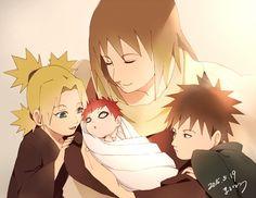 Mom and his childs (Karura, Temari, Gaara and Kankurou)