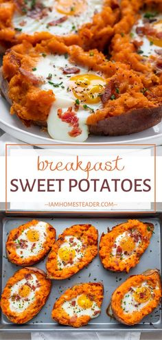 This recipe makes a hot and filling meal for St. Patrick's Day! Breakfast Sweet Potato is loaded with nutrients together with your favorite morning staples of bacon, egg, and cheese. A new and exciting addition to your breakfast menu on St. Patrick's Day! Sweet Potato Recipes, Egg Recipes, Cooking Recipes, Sweet Potato Breakfast, Breakfast Menu, Sweet Potato With Egg, Loaded Sweet Potato, Clean Eating Breakfast, Breakfast Potatoes