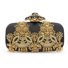 Oscar de la Renta Black & Gold Embroidered Satin Goa Clutch ($1,590) ❤ liked on Polyvore featuring bags, handbags, clutches, purses, black clutches, gold evening handbags, black gold purse, gold handbag and gold clutches