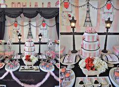 festa paris, decoração parisiense, festa menina, decoração mesa de doces, tema para meninas, festa rosa e preto, je adore paris, culinária francesa, bolo, macarons, flores