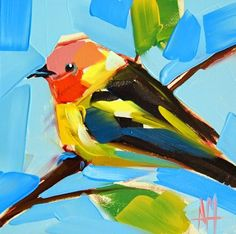 """Daily Paintworks - """"Western Tanager no. 12 Paintin..."""" by Angela Moulton"""