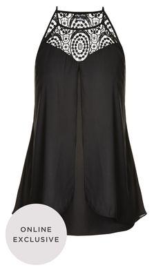 City Chic - CROCHET FRONT TOP - Women's Plus Size Fashion