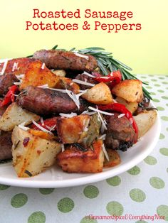 Roasted Sausage, Potatoes and Peppers    Tonight's dinner....one pan, little clean up.......very tasty!