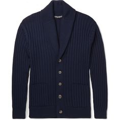 Dolce & Gabbana Shawl-Collar Virgin Wool Cardigan ($1,975) ❤ liked on Polyvore featuring men's fashion, men's clothing, men's sweaters and blue