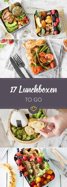 Never again boring lunch: 17 lunch box ideas- Nie wieder Langweiler-Lunch: 17 Lunchbox-Ideen Boring lunch? Not with you! With these transport tips and 17 colorful recipe ideas, your lunch will be balanced and delicious – day after day & # s new. Lunch Snacks, Clean Eating Snacks, Healthy Snacks, Healthy Eating, Healthy Recipes, Snacks Recipes, Cooking Recipes, Food To Go, Good Food