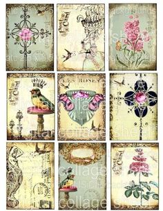 CRoWNeD BiRDs / Collage sheets / digital by LandofEnchantment, $4.98