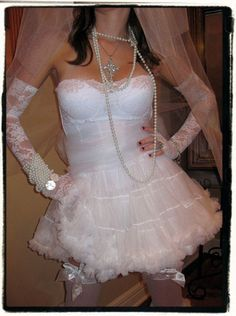 Dz9nr, LLC - Elite Bachelorette Party Dress- Madonna Like a Virgin Costume Gown- Sexy Bride, $89.95 (http://www.80sfashioncostumes.com/elite-bachelorette-party-dress-madonna-like-a-virgin-costume-gown-sexy-bride/)
