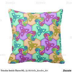 Tricolor Swirls Throw Pillow