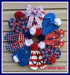 A Day In The Life with tj: DIY: Dollar Store Patriotic Flip Flop Wreath Tutorial - Special Days Fourth Of July Decor, 4th Of July Decorations, 4th Of July Wreath, July 4th, Holiday Decorations, Easy Decorations, Birthday Decorations, Patriotic Crafts, July Crafts