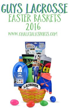 "Say ""happy Easter"" to your favorite lacrosse players or fans with this new for 2016 lacrosse-themed Easter basket!"