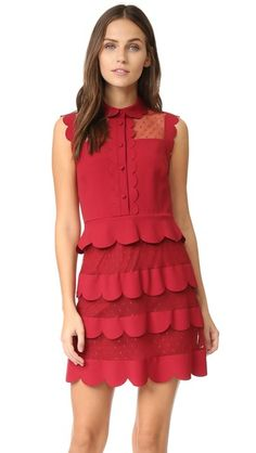 RED Valentino Collared Ruffle Dress