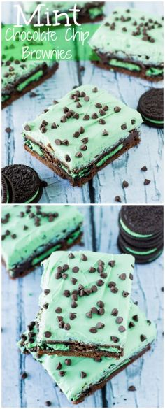Mint Chocolate Chip Brownies loaded with mint oreos and topped with mint chocolate frosting and mini chocolate chips! Mint Desserts, Delicious Desserts, Yummy Food, Chocolate Chip Brownies, Mint Chocolate Chips, Chocolate Frosting, Mint Frosting, Brownie Recipes, Cookie Recipes