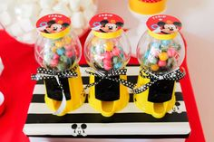 Gumball favors at a Mickey Mouse birthday party! See more party planning ideas at CatchMyParty.com!
