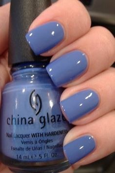 China Glaze: Secret Periwinkle. I love this color. It would be great with a silver glitter accent nail.