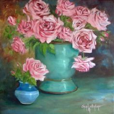 Oil Painting, Pink Roses With Turquoise And Blue Containers, Original Canvas Painting by Cheri Wollenberg Rooster Art, Chicken Art, Diy Art, Pink Roses, Flower Art, Painting & Drawing, Original Artwork, Rose Paintings, Turquoise