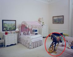 The circled rocking horse was a 1961 Christmas gift from JFK and Jackie to Caroline.