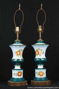 Pair French Floral Porcelain Table Lamps Lights Antique Table Lamps, Paris Flea Markets, Floral Motif, Porcelain, Ceiling Lights, French, Shapes, Christmas Ornaments, Antiques