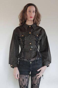 80's Jean Paul Gaultier Junior black denim lace up corset