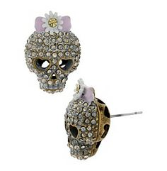 Product: Betsey Johnson® Patina Skull Stud Earrings