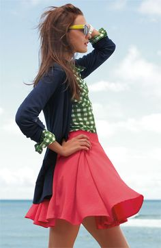Love everything about this outfit.  especially the skirt (Collective Concepts Box Pleated Skirt) [Nordstrom] $68