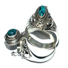 *REDUCED* Sterling Silver Bali Thin Oval Turquoise Poison Ring-Free Shipping $22