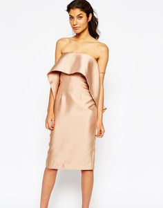 Image 1 ofSolace London Midi Pencil Dress With Frill Overlay