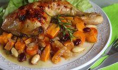 Kuře pečené s batáty, mrkví a sušeným ovocem