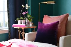 Dalliance Design: MOROCCAN SITTING ROOM  #dalliancedesign #chaise #coral #purple #ombre #orchid #metallic