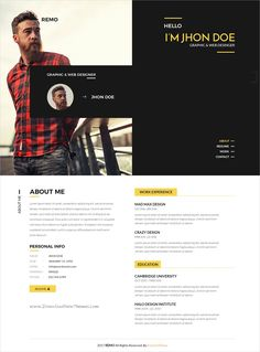 Remo is clear and modern style #PSD template for single page #resume #CV and portfolio showcase website download now..