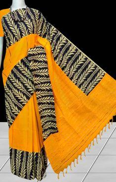 Turmeric Yellow mulmul cotton handloom saree with Khesh