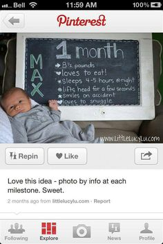 I wish I would have done it this way with sevran....he has a scrapbook that will have this info for his first 12 months, but said scrapbook is still only half finished...for the next baby ill have to remember this