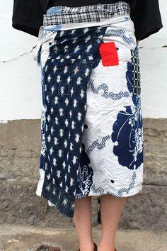 Japanese boro patchwork wrap apron skirt/kimono by SASAKIYOHINTEN
