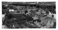 "Roofs Of Luebeck_monochrome Towel (Hand Towel (15"" x 30"")) by Marina Usmanskaya.  Our towels are great.  The ancient Hanseatic city Luebeck in the north of Germany from a bird's eye view."