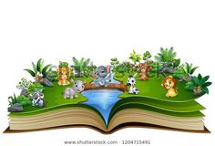 """Stock ilustrace """"Open Book Baby Animal Cartoon Playing"""" 1204715491 Open Book, Baby Animals, Cartoon, Illustration, Books, Image, Animales, Libros, Baby Pets"""