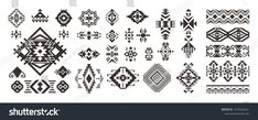 Set Tribal Decorative Elements Isolated On Stock Vector (Royalty Free) 1416252521 Native American Patterns, Native American Design, Style Boho, Vinyl Paper, Aztec Designs, Fabric Wall Art, Illustrations, Adhesive Vinyl, Wall Murals