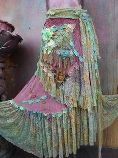 gothic bohemian skirt bohemian shabby skirt lace skirt