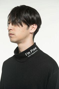 20/CottonJersey「I'm Free」High Neck T-Shirt(M Black): S'YTE|THE SHOP YOHJI YAMAMOTO Yohji Yamamoto, Neck T Shirt, Spring Summer, Shop, Shirts, Free, Black, Black People, Dress Shirts