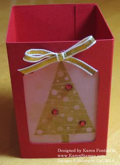 Make a Festival of Trees Holiday Votive Holder with just some card stock and vellum and a battery tea light inside. http://www.stampinup.com/ECWeb/ProductDetails.aspx?productID=135059&dbwsdemoid=54345 #Christmasvotive #Festivaloftrees #Christmasfavor