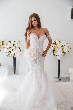 Hot Sale Mermaid Beach Wedding Dress Full Beading Lace Court Train Bridal Gowns Plus Size Arabic