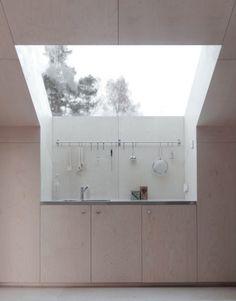 Swedish kitchen with a sky view by Kolman Boye Architects