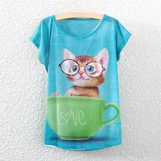 2016 Brand New kawaii t Shirt Women harajuk Crew Neck Top Short Sleeve Indian Girls Print T-Shirt Fashion Summer Tees For Ladies