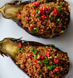 Healthy Quinoa Stuffed Eggplant with Chinese Sauce