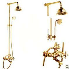 Sterdam Robinet de douche luxe antique doré totalement en laiton baignoire avec pomme de douche et douche à main