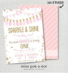 sparkle and shine it's birthday time invitation - pink, gold glitter, champagne, blush tassel birthday invitation by misspokadot on Etsy