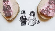 hand carved rubber stamps - LEGO (R) Bride and Groom Rubber Stamp Hand Carved in Stockholm