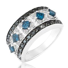 $219.99 - 1.25 Carat White, Black and Blue Diamond Ring in Sterling Silver