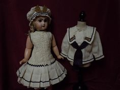 Gorgeous Antique french bebe Sailor Marine Costume Dress w/ Petticoat from believe on Ruby Lane